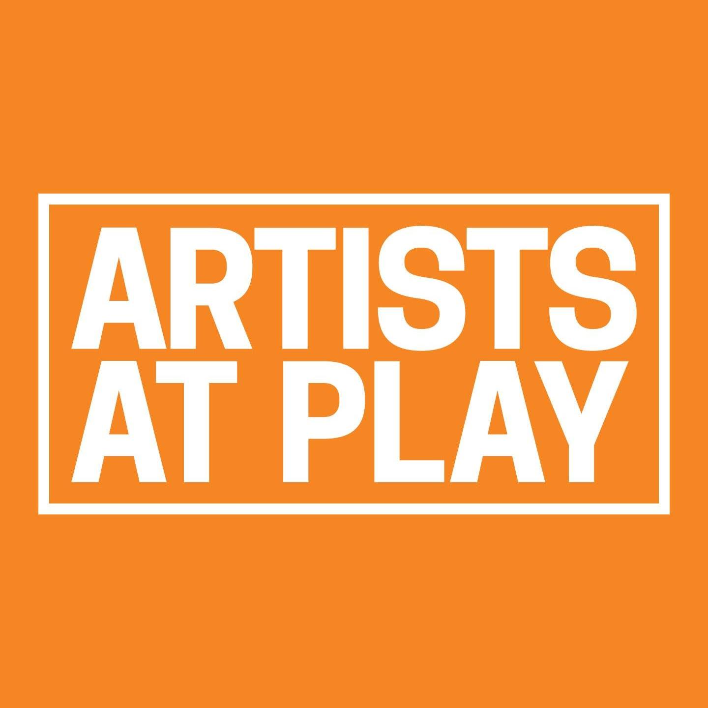 "orange square with white text that reads ""Artists At Play"" with white box around text"